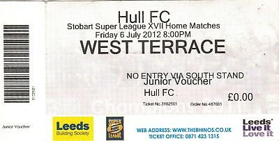 Ticket - Leeds Rhinos v Hull FC 06.07.2012