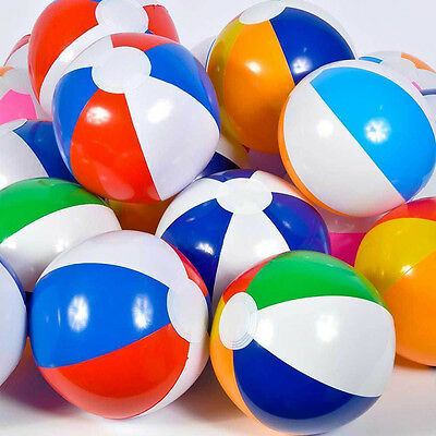 23cm Colorful ASSORTED BEACH BALLS Inflatable Blowup Panel Pool Party