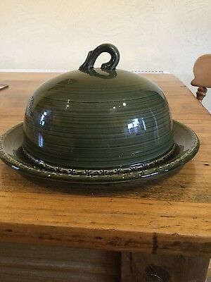 Green and White Cheese Dish with dome and plate
