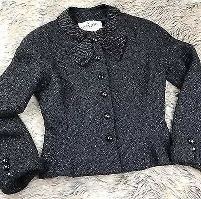 Vtg Valentino Boutique Black Wool Blazer Fitted Beaded Neckline Bow Fitted Sz 6