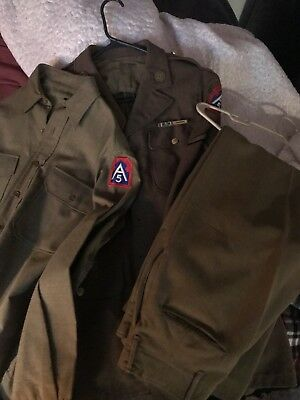 WW2 Army Air Corp Uniform Jacket, Trousers, Shirt With Patches