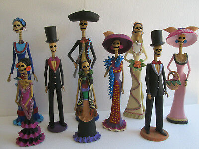 """9 CATRINA SET  mexican folk art   day of the dead clay figure  wholesale lot 15"""""""