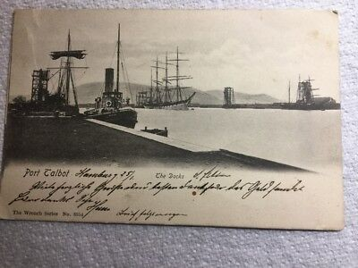 Old Postcard - The Docks at Port Talbot with TUG Eagle in the Fore
