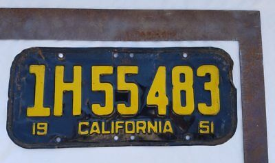 1951 California License Plate 1H55483  Black & Yellow