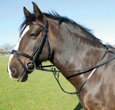 English Leather Breastplate With Detachable Martingale Full Size Black Horse