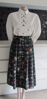 German Austrian Excluive Edelweiss Plaid Skirt + Blouse Outfit 10