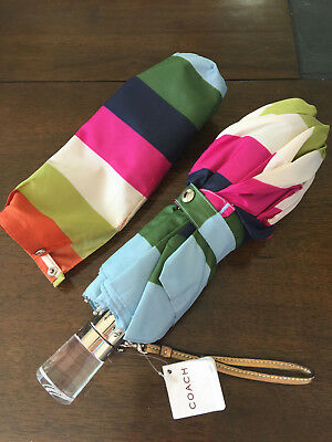 NWT COACH Legacy Stripe Folding Umbrella Push Button NEW 60052 Multi-color