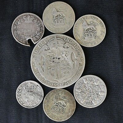 Great Britain 18;;, 1903 - 1935 7 Silver Coins 3 & 6 Pence(5) & Half Crown see