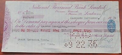National Provincial Bank Ltd Overseas branch, London used Cheque in dollars 1936