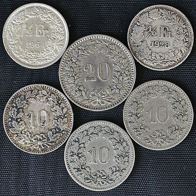 Switzerland 1909 - 1964 6 Coins 10 & 20 Rappen & 1/2 Silver Francs(2) see photos