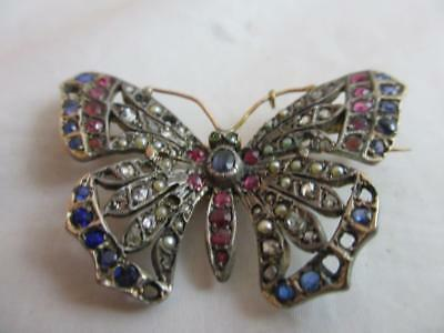 18ct gold sterling silver ruby diamond sapphire butterfly antique victorian j124