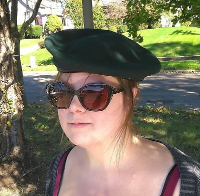 Vintage Canada 1970 Dorothea Mills Green Basque Wool Army Military Beret