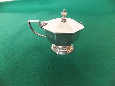 Antique silver mustard pot with blue glass liner c1913