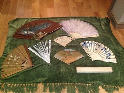 7x Antique Hand Fans Hand-Painted Chinese Carved Silk Feather Mother of Pearl