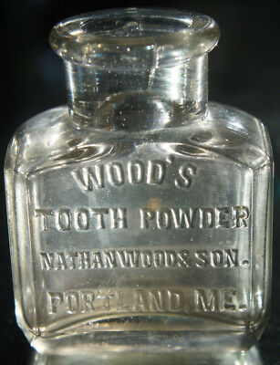 Antique Dental Hygiene Product Bottle Wood'S Tooth Powder Portland Maine