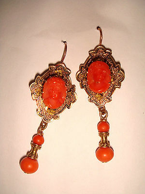 "Antique 2"" Victorian 14K Gold Enamel & Salmon Coral Cherub Cameo Drop Earrings"