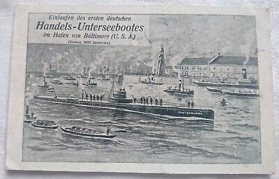 Alte Postkarte 1. Handels-UBoot in USA 1916/ Postcard 1st Trade-sub in US
