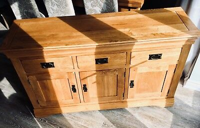 French Farmhouse Rustic Solid Oak Large Sideboard RRP £425