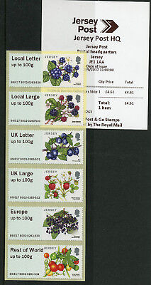 Jersey 2017 MNH Fruits & Berries Post & Go 6v Collectors Strip B002 Stamps