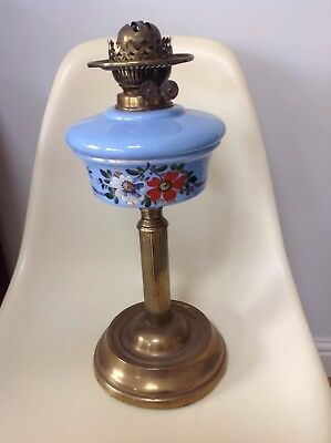 Beautiful Antique Brass And Hand Painted Large  Oil Lamp.