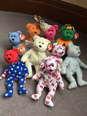 Pre-loved Job Lot Of TY Beanie Babies Bears Toys Liberty Tricky America Retired