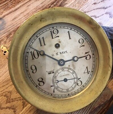 "Chelsea Clock Co. 6"" U. S. Navy Non- Magnetic, 11 Jewel, Pilot House Clock 1919"
