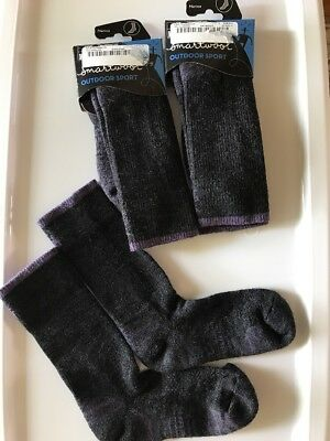 Set Of 3 Smartwool Sport Lt Crew Women's Size Medium M Charcoal/Desert Purple