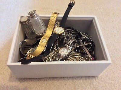 Box of Coins, Solid Silver Items, Costume and Rotary Watches Watches.