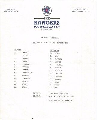 Rangers v Hibs season 1989/90 League Teamsheet