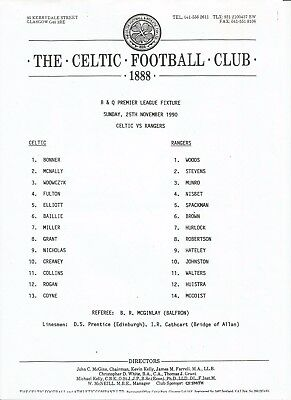 Celtic v Rangers season 1990/91 League Teamsheet