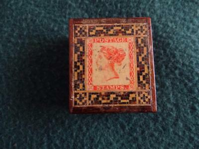 LATE 19th,C TUNBRIDGE WARE SLIP LID STAMP BOX WITH PENNY RED TRANSFER STAMP