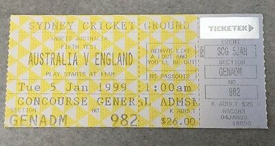 Australia V England 5th Test SCG Sydney Ashes Ticket Rare 1999