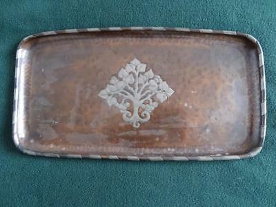 "ARTS & CRAFTS 15"" x 8"" HUGH WALLIS  COPPER TRAY WITH PEWTER INLAY DECORATION"