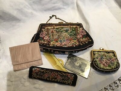 Superb Vintage 1930's Hand Worked Tapestry Evening Bag