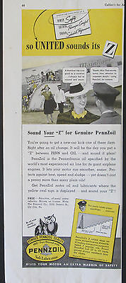 Penzoil And United Airlines Mainliner 1/2 page 1939 Vintage Print Ad