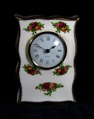 Royal Albert - Old Country Roses Mantle Clock - First Quality.