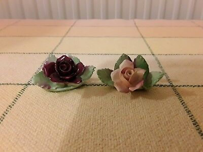 Pair of Royal Albert Old Country Roses miniature table decorations