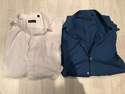 2x Men's Peter England Long Sleeved Shirts, 19.5 Inches / 50cm