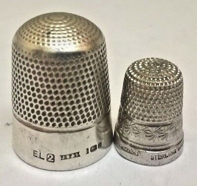 OLD SOLID SILVER THIMBLES HALLMARKED  js&s   hg&s