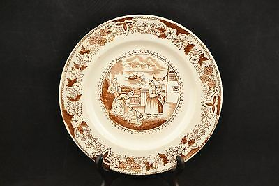 Antique Brown & White French Pearlware Porcelain Plate w/ Chinese Scene  ND1037
