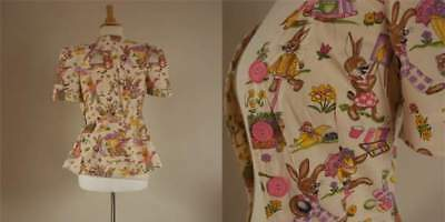 Vintage 1970s Blouse Top with Rabbit Print and Pink Buttons Size Small