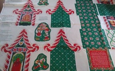 Vtg 1991 Cheryl Ann Johnson christmas fabric panel Santas Toyshop Box 1 yd NEW