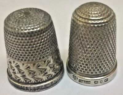 2 X Old Solid Silver Thimbles Hallmarked  Hg&s