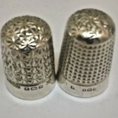 2 X Old Solid Silver Thimbles Hallmarked  Hg&s   J