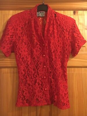 Vintage Red Lace Blouse 10