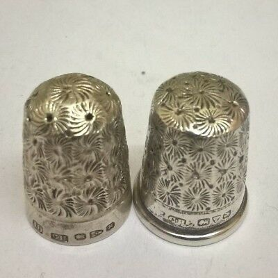 2 X Old Solid Silver Thimbles Hallmarked   Ch