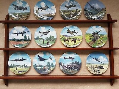 "Set of 12 Royal Doulton ""Heroes of the Sky"" Collector Plates & Stand by Michael"