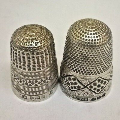 2 X Old Handsome Solid Silver Thimbles Hallmarked   Jt&s  Jf