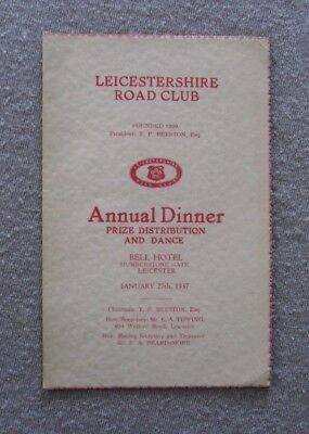 Cycling . Leicestershire Road Club . Annual Dinner , Bell Hotel. 1937