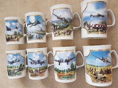 "Set of 8 Davenport Pottery ""Heroes of the sky"" cups/mugs by Michael Turner"